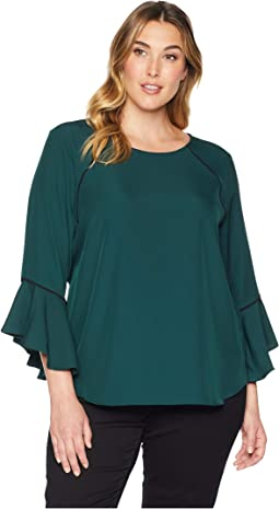 Plus Size Crew Neck w/ Flare Sleeve and Pipping Blouse