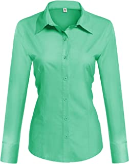 e18c9061f4f3a9 Hotouch Womens Long/Short Sleeve Cotton Basic Simple Button Down Shirt