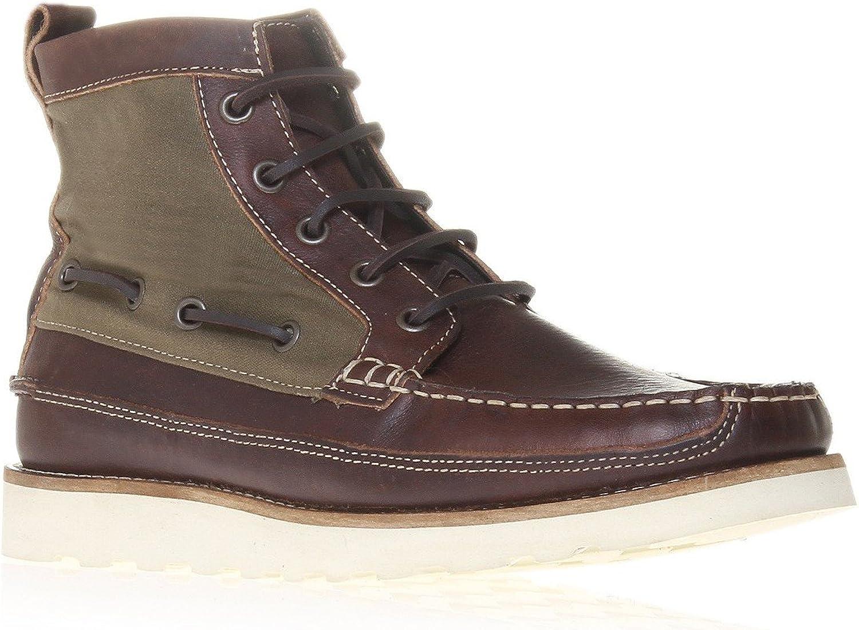 Kurt Geiger herrar herrar herrar DORY bspringaa och Khaki Leather och Fabric Lace Up Casual Boots  grossist-