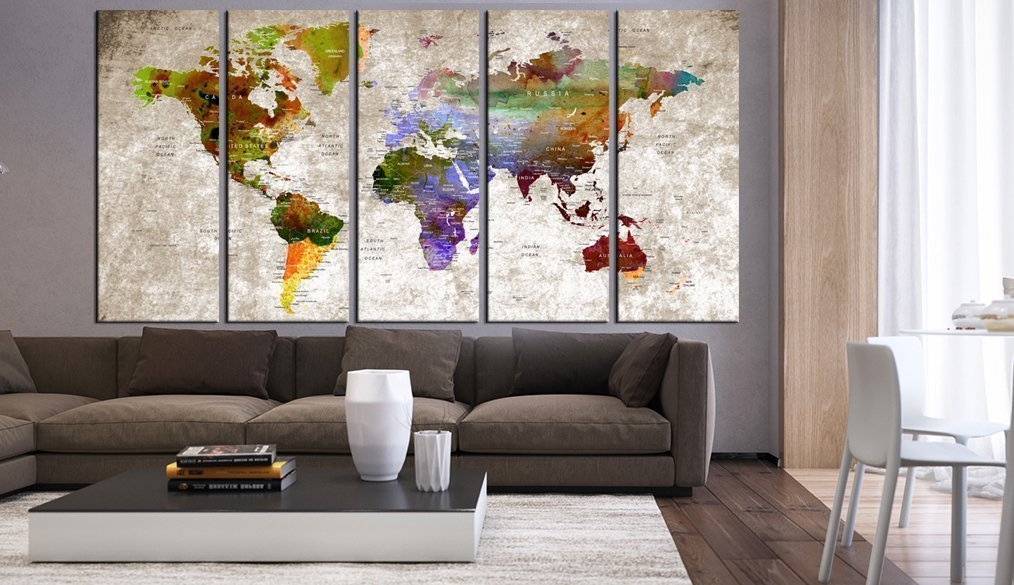 Extra Large World Map Print Wall Oakland Mall Art Canvas Panels Multi Special price for a limited time Set P 5