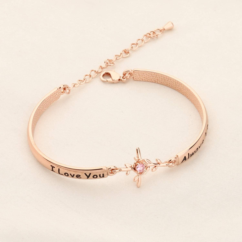WUSUANED Rose Flower Charm Bracelet I Love You Always And Forever Jewelry Gift for Women Girls