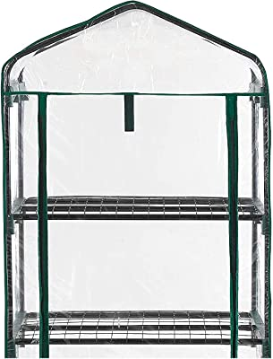 2 Packs 2 Tier Mini Greenhouse Replacement Cover- 27 × 19 × 36 Inches Clear PVC Plant Cover Waterproof Tarp Tent for Gardening Plants Cold Frost Protection Wind Rain Proof (Frame Not Included)