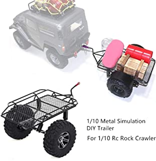 m·kvfa Metal Simulation DIY Trailer Bucket with Alloy Tow Shackle Hook for 1/10 Axial SCX10 TRX4 RC Car Fun Gift Toys for Girls & Boys Kids RC Car Parts DIY Accessoy