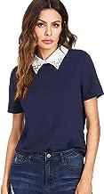 blue shirt white collar womens