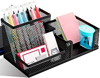 Mesh Pen Holder Metal Desk Organizer Office Supplies Caddy with Pencil Holder and Storage Baskets for Desk Accessories Org...
