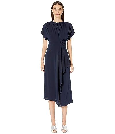 YIGAL AZROUEL Matte Jersey Asymmetric Shirred Waist (Midnight) Women