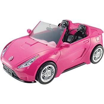 Barbie Voiture Cabriolet Rose pour poupée, décapotable avec deux sièges noirs, ceintures et rétroviseurs argentés, jouet pour enfant, DVX59