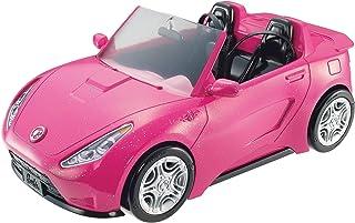 Barbie Voiture Cabriolet Rose pour poupée, décapotable avec deux sièges noirs, ceintures et rétroviseurs argentés, jouet p...