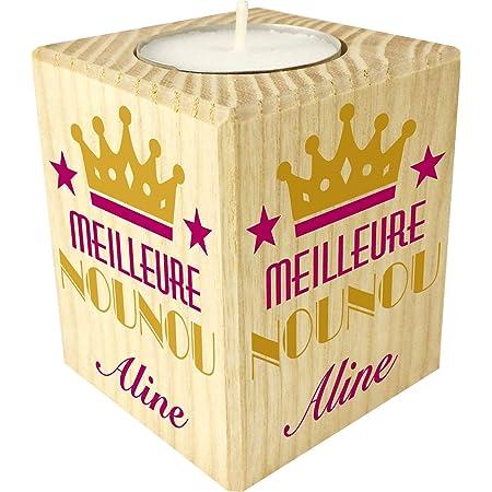 Bougie personnaliséeMeilleure Nounou – Porte Bougie en bois personnalisé avec le prénom – Cadeau de fin d'année pour remercier la nourrice de votre enfant ou bébé – cadeau fin de contrat