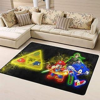 Zmacdk Sonic The Hedgehog - Alfombra cuadrada antideslizante para dormitorio infantil (150 cm x 240 cm), Sonic Sonic The H...