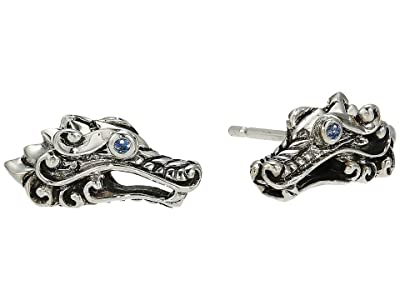 John Hardy Legends Naga Stud Earrings with Blue Sapphire Eyes (Silver) Earring