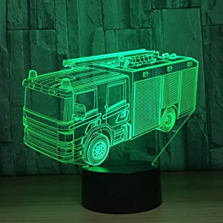 YZYDBD 3D Night Light Optical Illusion LED Fire Engine Car 3D Night Light 7 Colors Desk Table Lamp LED Marquee Letter Light Home Decor Gifts