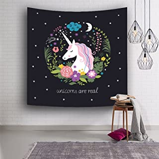 QCWN Unicorn Tapestry Fairytale Theme Print Wall Tapestry Wall Hanging for Bedroom Living Room Dorm Home Decor/Birthday Party Decor (1, 78Wx59L)
