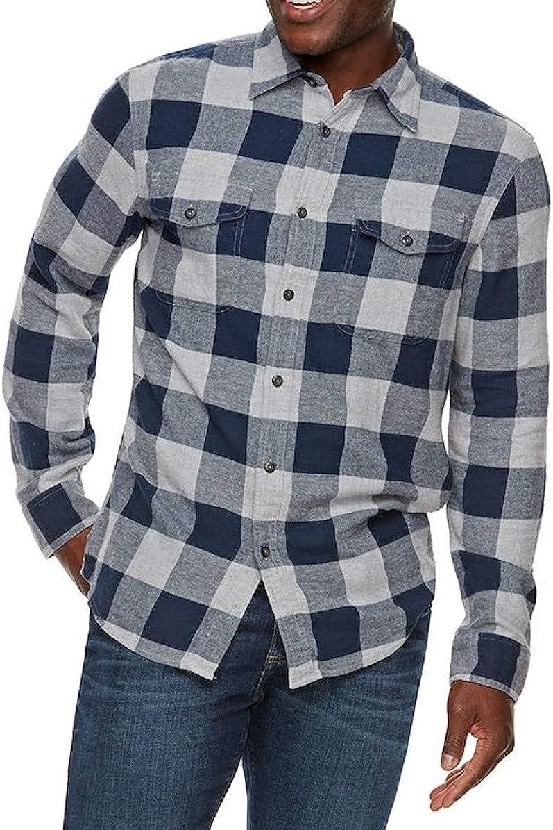 Men's Classic Fit Flannel Shirt Navy Grey Buffalo Plaid 2 Pockets Long Sleeve