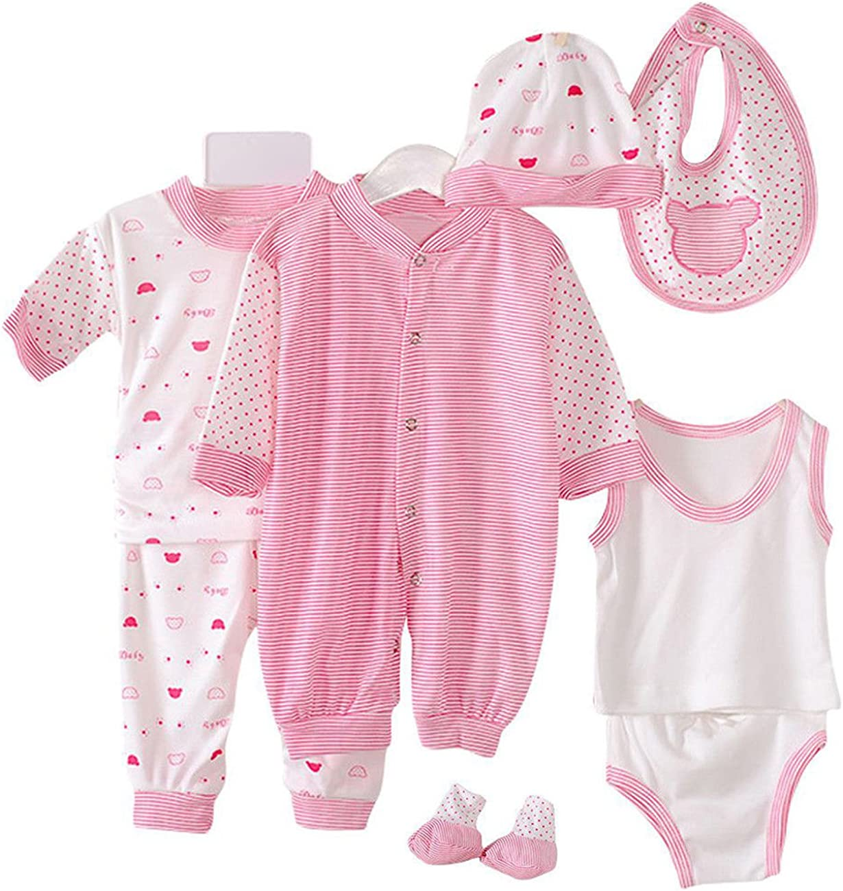8PCS Cotton Newborn Baby Baltimore Mall Layette Set Spring new work Clothing J Includes Clothes