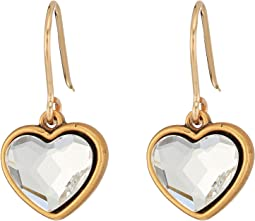 Crystal Heart Hook Earrings
