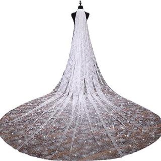 FXSHOP スターライトの光沢のある糸プラス長い幅のライスホワイトの新しいスーパーロング花嫁の結婚式のヘッドドレス (色 : 白, サイズ さいず : 3.5*3m)