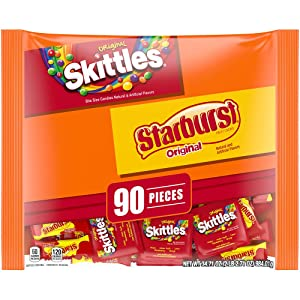 SKITTLES & STARBURST Fun Size Halloween Candy Assortment - 34.71oz/90ct