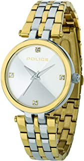 Police Pyramid Women Analogue Watch With Silver Dial And Silver And Gold Plated Stainless Steel Bracelet - PL 14870BSTG-D04M