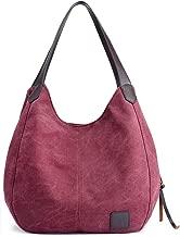 Hiigoo Fashion Women's Multi-pocket Cotton Canvas Handbags Shoulder Bags Totes Purses