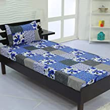 Valito - Microfiber (90 GSM), Single Bedsheet, (235 cm x 140 cm) with Matching Pillow Cover (42 cm x 69 cm) - Floral Print, Blue