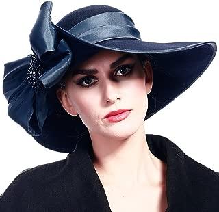 FORBUSITE Women Wool Felt Plume Church Dress Winter Hat