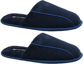 Zapatillas de piel sintética para hombre, suaves y acogedoras, cálidas, informales, de espuma viscoelástica, para invierno...