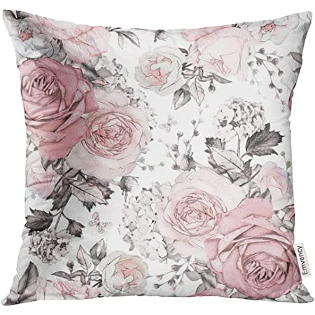 Amazon Com Golee Throw Pillow Cover Gray Abstract With Pink Flowers And Leaves On White Watercolor Floral Pattern Rose In Pastel Color Decorative Pillow Case Home Decor Square 18x18 Inches Pillowcase Home