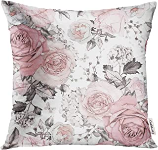 Golee Throw Pillow Cover Gray Abstract with Pink Flowers and Leaves on White Watercolor Floral Pattern Rose in Pastel Color Decorative Pillow Case Home Decor Square 16x16 Inches Pillowcase