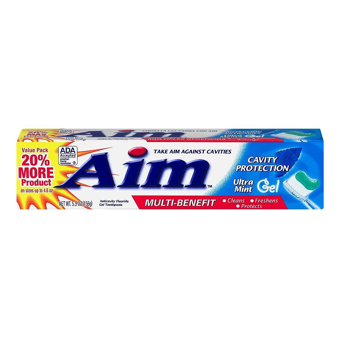 めんどり元気絶滅AIM 空洞保護歯磨きウルトラミントジェル、5.5オンス、4パック 4パック