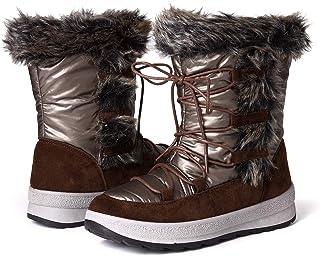 gracosy Botas Nieve Mujer Forro de Piel Invierno Antideslizante Plataforma Zapatos Calentar Cremallera Botines Cordones Im...