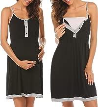 Ekouaer Women's Maternity Dress Nursing Nightgown Breastfeeding Full Slips Sleepwear S-XXL