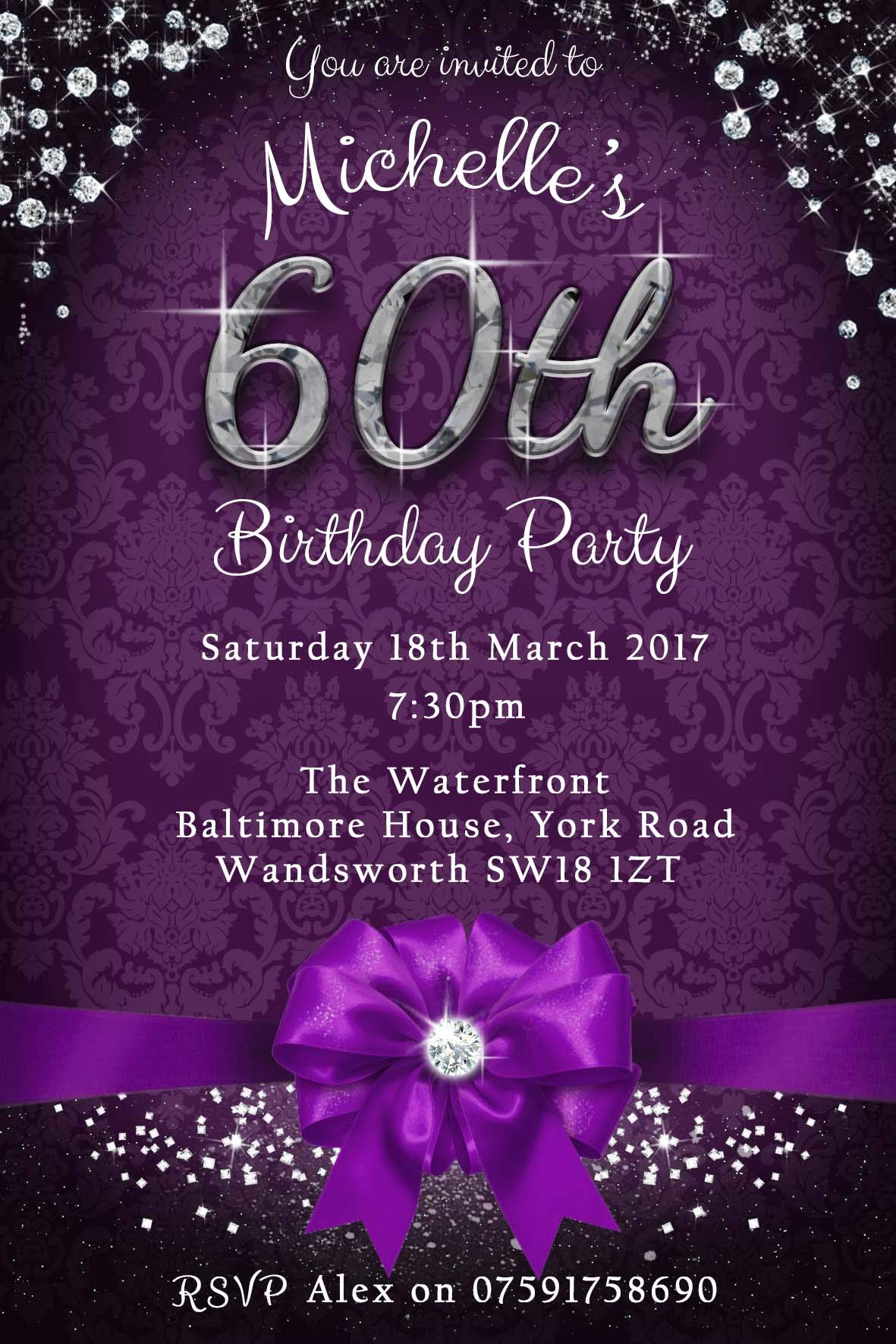 60th Birthday Party Invitations & Envelo- Buy Online in Trinidad and Tobago  at Desertcart