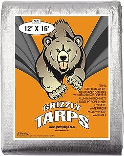 B-Air, Grizzly Tarp, 12X16, Multi Purpose Heavy Duty Waterproof Tarp, 14 x 14 Weave, Silver