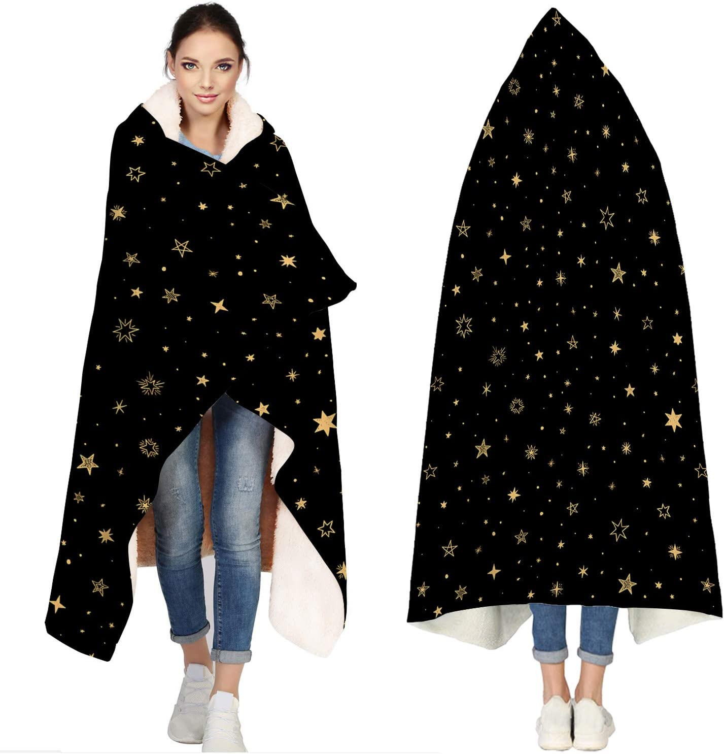 Seven Roses Hooded Blankets for Adults National products Towel Sale special price Black Stars Bath -