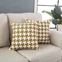 """Taisier Home Vintage Yellow Brown Throw Pillow Cushion Cover,Traditional Scottish Houndstooth Pattern in Pastel Colors Tartan Plaid Retro,Embroidered Accent Pillow Case,Set of 2 Pieces,18""""×18"""""""