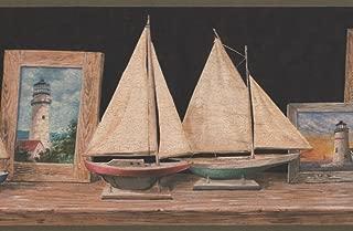 Lighthouses in Wooden Frames Sailboats on Mantel Darkest Green Wallpaper Border Retro Design, Roll 15' x 9