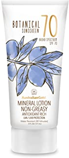 Australian Gold Botanical Sunscreen Mineral Lotion SPF 70, 5 Ounce | Broad Spectrum | Water Resistant