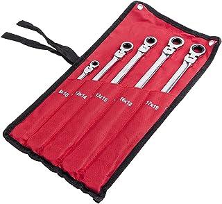 Chave de catraca de extremidade de caixa dupla, 5 peças, cabeça flexível, 8 – 19 mm, 6 pontos estrias