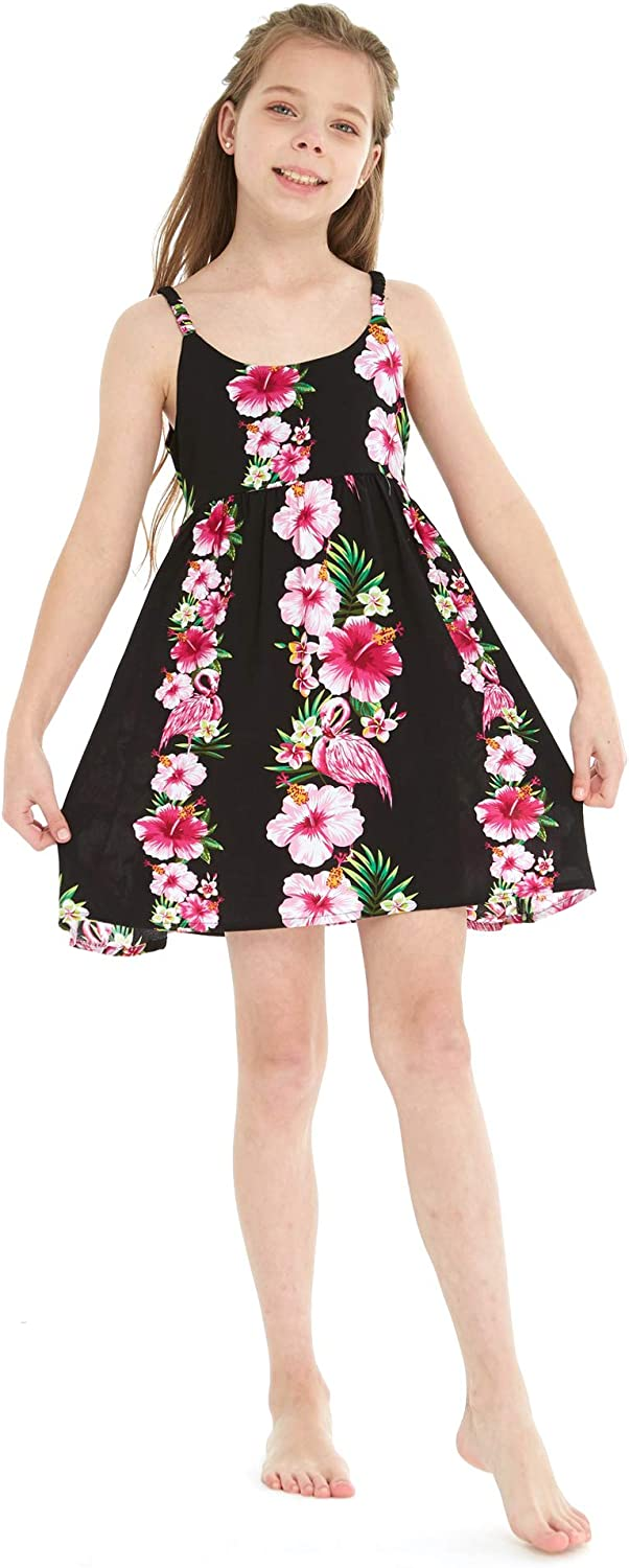 Girl Hawaiian Classic Empire Dress with Elastic Strap in Pink White Hibiscus Vine