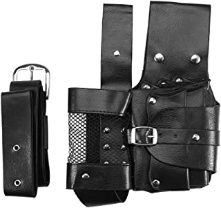 Professional Salon PU Leather Hairdressing Pouch, Hair Care Styling Tools Waist Bag With Belt for Hairdressers (Black)