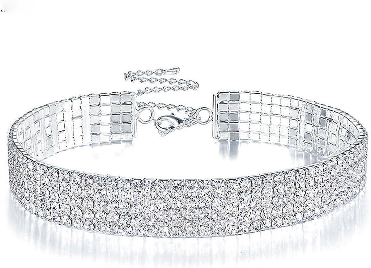 Clear Rhinestone Los Angeles Mall Crystal 2021 model Choker Collar Necklace Wedding