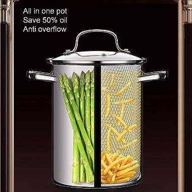 304 Stainless Steel Fryer, Multifunctional Deep Frying Pan Household Cookware Kitchenware