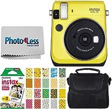 Fujifilm instax Mini 70 Instant Film Camera (Canary Yellow) + Fujifilm Instax Mini Twin Pack Instant Film + Small Digital Camera/Video Case + 20 Sticker Frames for Fuji Instax Prints Emoji Package