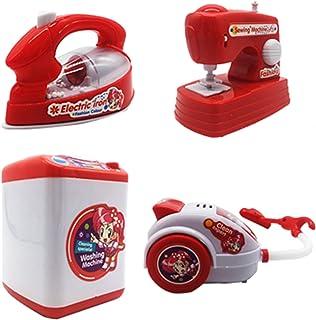 HorBous Lavadora Máquina de Coser de vacío Plancha de Hierro Imitación Kit de Juguete Electrodomésticos para niños 4 Piezas