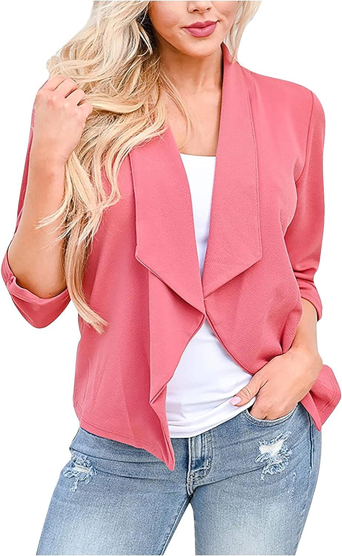 VonVonCo Business Casual Tops for Women Pure Color Fashion Lapel Slim Fit Slit Pocket Cardigan Suit Coat