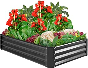 Best Choice Products 6x3x1ft Outdoor Metal Raised Garden Bed Box Vegetable Planter for Vegetables, Flowers, Herbs, and Succulents