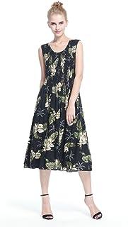 فستان هاواي للنساء بدون أكمام مطاطي بلون أخضر فاتح