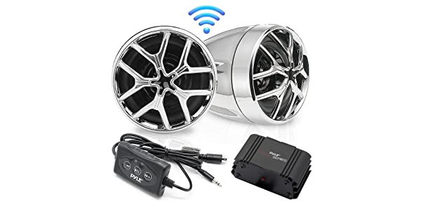 Mobile Mountable Audio Streaming-Set of 2 Pyle PLMCA51BT Bluetooth Weatherproof Speaker /& Amplifier System Water Resistant