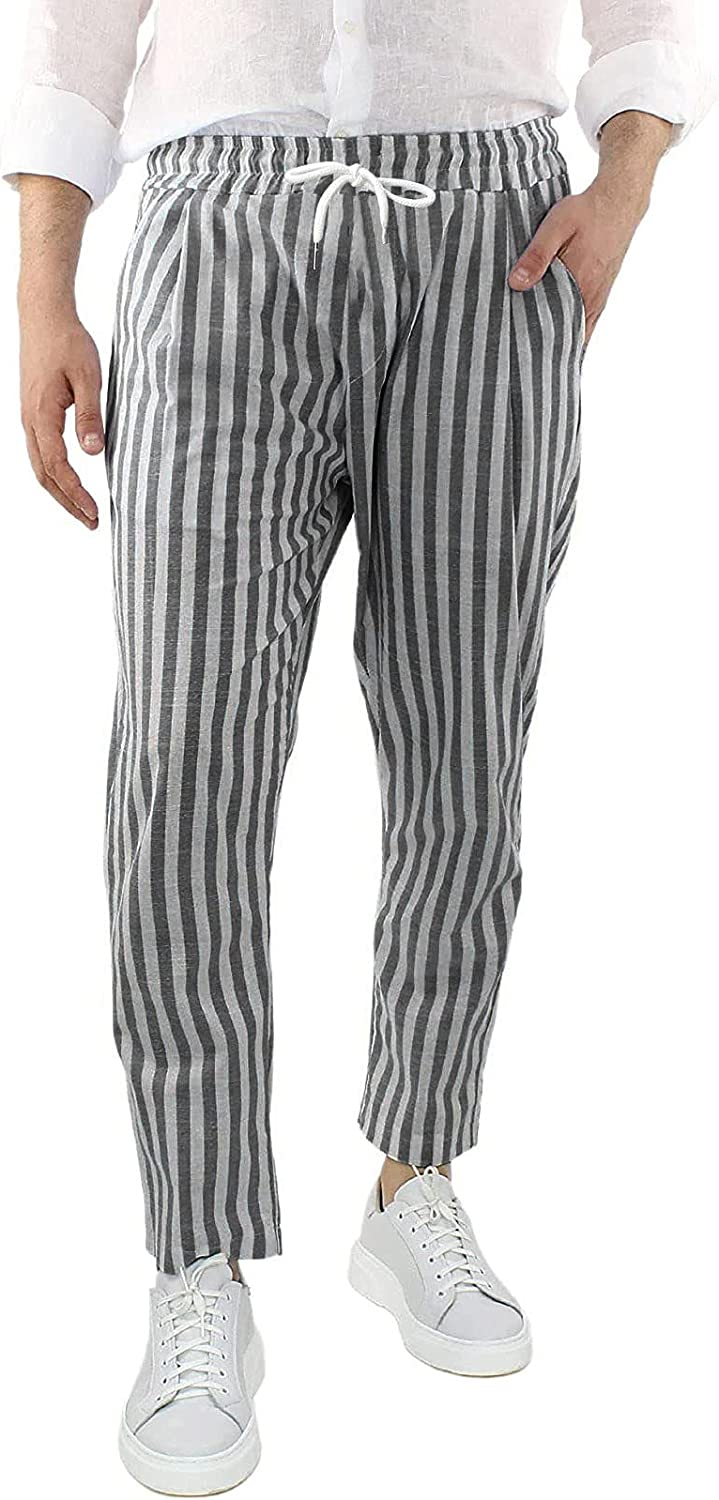 Huangse Mens Cotton Linen Casual Striped Long Pants Loose Lightweight Trousers with Drawstring Summer Yoga Beach Trousers